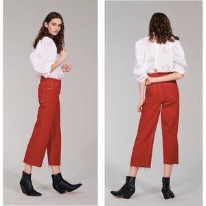 NWT Zara Red High Rise Cropped Culotte Jeans 2